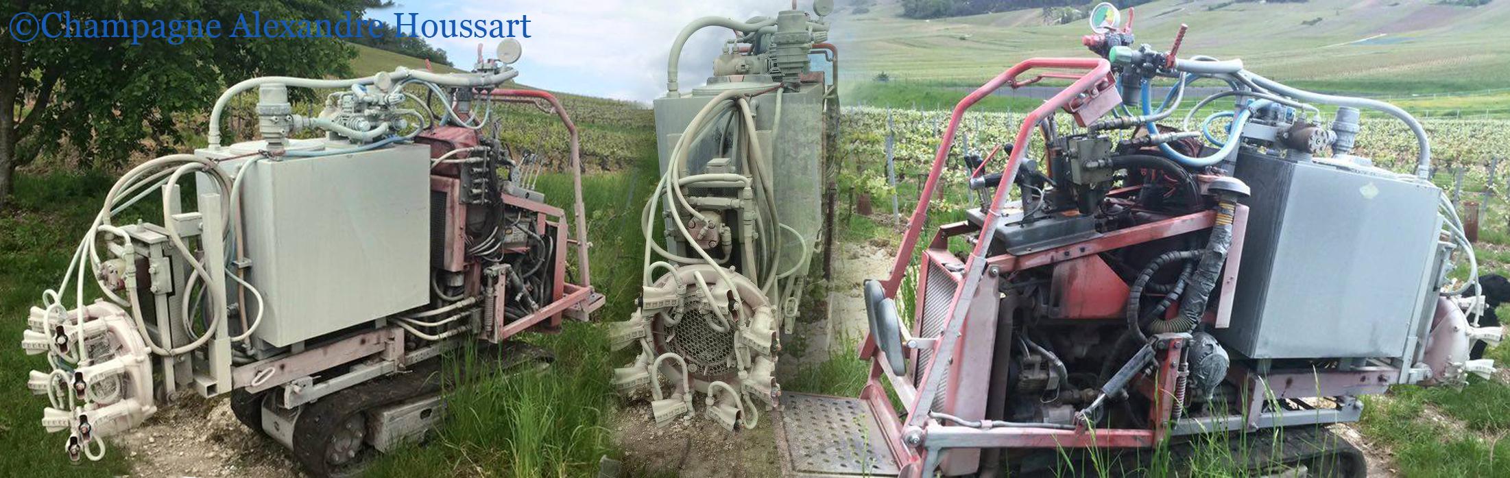 Exemple d'épandage de produit phyto dans une viticulture raisonnée: le chenillard